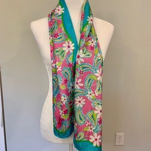 Lilly Pulitzer Bright Floral Silk Scarf